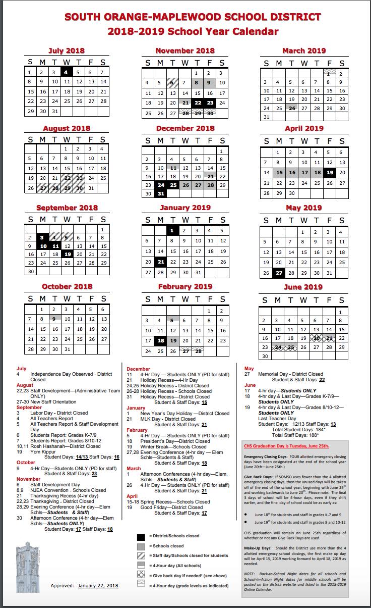 Columbia 2019 Calendar District Calendar   Columbia High School